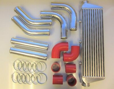 "Universal Front Mount Intercooler Kit FMIC 63mm 2.5"" RED HOSES 550x180x65 Core"
