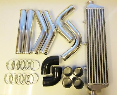 Universal Front Mount Intercooler Kit FMIC 57mm 2.25 BLACK HOSES 550x140x65 Core