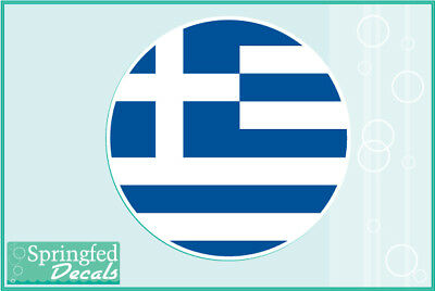 Proud To Be Greek Greece Flag Decal Sticker Car Vinyl pick size color round