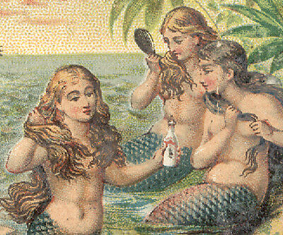 1880's AYER'S HAIR VIGOR TRADE CARD, 5 MERMAIDS USING AYER'S IN THEIR HAIR TC900