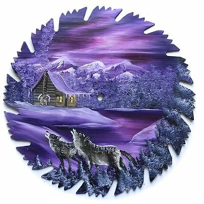 Hand Painted Saw Blade Art  Mauve Lavender Winter Log Cabin w WOLVES