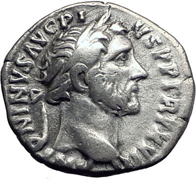 ANTONINUS PIUS Father of Marcus Aurelius Ancient Silver Roman Coin Annona i63911