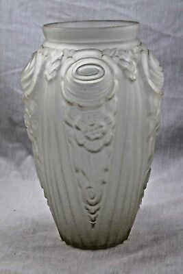 MASTERPIECE AUTHENTIC FRENCH ART DECO HUGE DESIGNER FROSTED ART GLASS VASE '20's