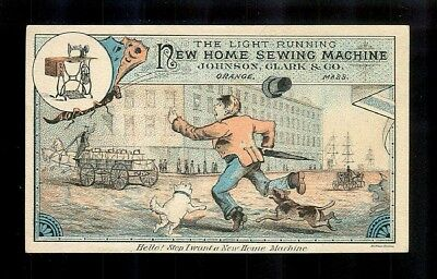 Man & His Dogs Chase Sewing Machine Salesman-1880s Victorian Trade Card