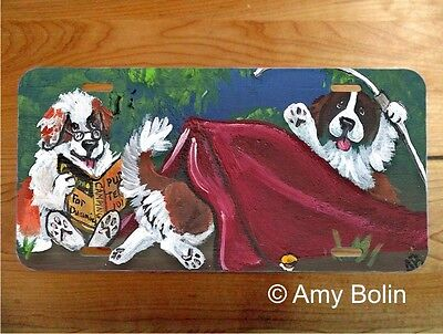 Saint Bernard dog aluminum LICENSE PLATE by Amy Bolin Pup Tent  PERSONALIZE IT