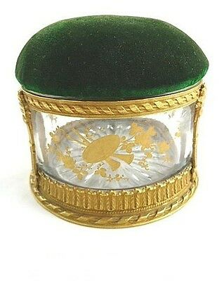 Antique French Pin Cushion Box Bronze Dore Hand Painted Gilt Details Velvet Top