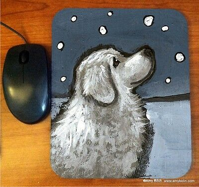 MOUSE PAD GREAT PYRENEES  BY  Amy Bolin COUNTING SNOWFLAKES