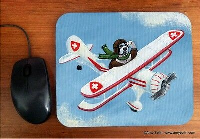 MOUSE PAD SAINT BERNARD AIR DOG BY  Amy Bolin  BI PLANE DOG IN AIR PLANE