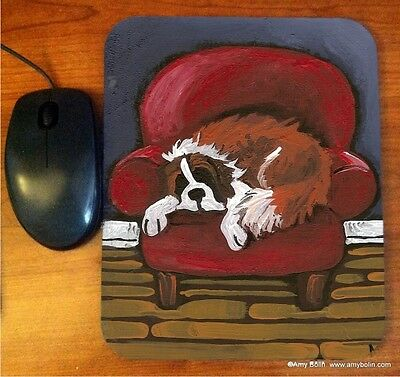 MOUSE PAD SAINT BERNARD A DAY WELL SPENT  BY  Amy Bolin RED CHAIR