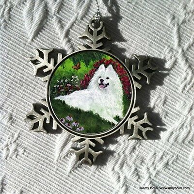 SAMOYED SUMMER BLISS  Pewter Snowflake Christmas Ornament by Amy Bolin