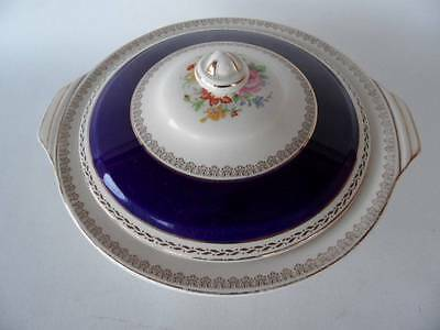Vintage Crown Ducal Empress Cobalt Blue Floral Posy & Gold Lidded Tureen