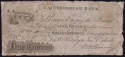 1801 GAINSBOROUGH BANK 1 GUINEA BANKNOTE * VG * Outing 811a *