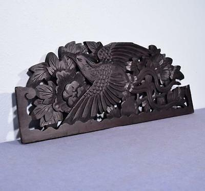 *Antique Deeply Carved Architectural Panel Door Solid Wood w/Asian Bird