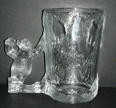 Vintage Coke Coca-Cola Heavy Glacier Clear Glass Mug Stein Polar Bear Handle 97