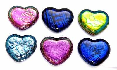 assorted set of 6 HEART DICHROIC FUSED GLASS (D2) CAB MOSAIC PENDANT CABOCHON