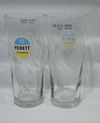 "VEDETT BIERE 2 Verres droits 50 cl pinte "" lisse"" extra white NEUF"