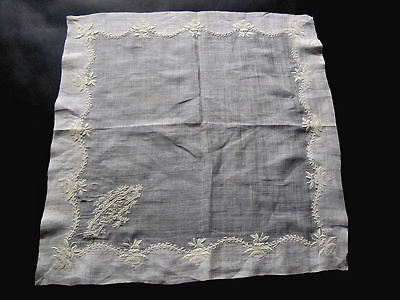Antique Wedding Hankie for Charlotte Exquisite Handmade Whitework Embroidery