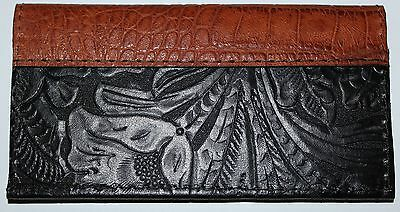 JET BLACK WESTERN  LEATHER w/ CHESTNUT ALLIGATOR TRIM CHECK BOOK COVER FREE SH