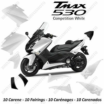 Set 10 Pieces Fairing Yamaha T Max Tmax 530 White Competition