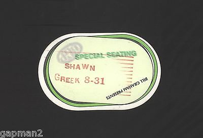 "Shawn Colvin 1997 Bill Graham Greek Theatre 3""x4 3/4"" Perri Peel Back Cloth Pass"
