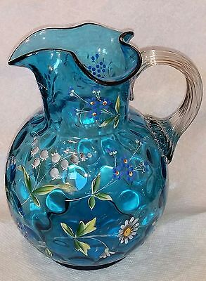 Antique Blue Victorian Enameled Blown Art Glass Pitcher Inverted Coin Dot Spot