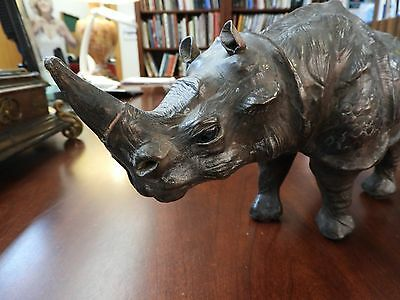 Outstanding Bronze Appearing Hand Made Leather African Rhinoceros Statue