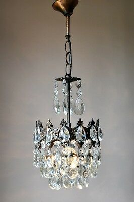 Petite Antique Mini French Old Vintage Crystal Chandelier Lamp Lighting Lustre