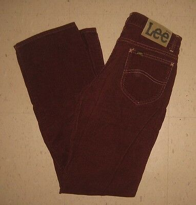 Vintage 80'S Lee Riders CORDUROY  28x31 Made in the USA    Burgundy Wine  EUC