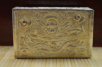 129g S999 Sterling Solid Silver Hand Made Dragon Flower Card Box 9.3cm*6cm*2.3cm