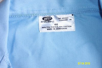 NEW Light Blue Lab Coat made by Best Mfg. of poly/cotton, 5 button 3 pocket, 46