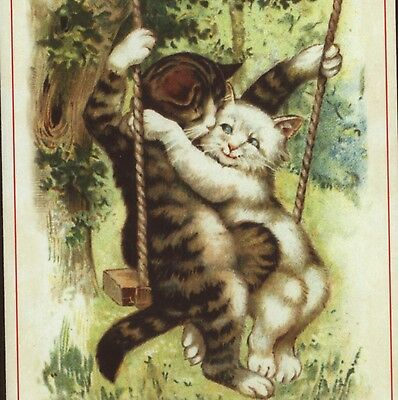 Mint..reproduction Of Scarce Nister;cats In Swing,valentine's Day ,greeting Card