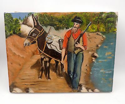 Vintage Oil Painting Old Prospector with Mule Primitive Outsider Art Western