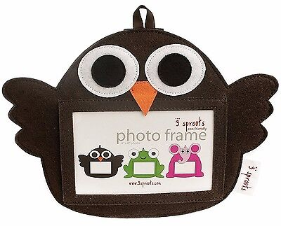 Brown Owl 3 Sprouts Eco Friendly Nursery Picture Frame for 4 x 6 Photo Polyester
