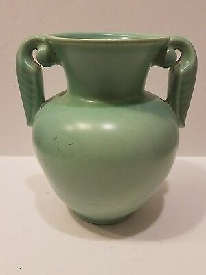 Vintage American Art Pottery Stangl Handled Vase Arts & Crafts Green 3104