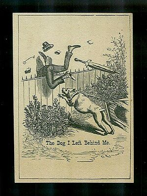 Watch Dog Chases Man Over Fence-1880s Victorian Trade Card