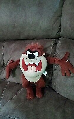 "Vintage 2001 Looney Tunes Taz Tasmanian Devil Stuffed Plush 12"" Toy EXCELLENT"