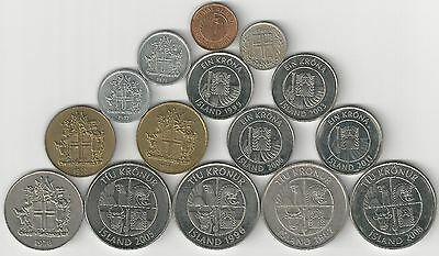 15 DIFFERENT COINS from ICELAND (7 TYPES)