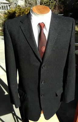 Vintage 3 Button Sport Coat Jacket 40R - Quality Warren Sewell Charcoal FLANNEL