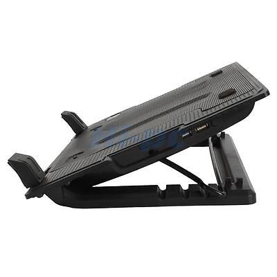 "USB Notebook Laptop Cooling Pad Quiet Fan 9-17"" Adjustable Stand Pad Black"