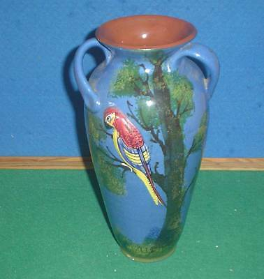 STUNNING LARGE LONGPARK TORQUAY POTTERY 3 HANDLED BLUE PARROT VASE 10.25ins HIGH