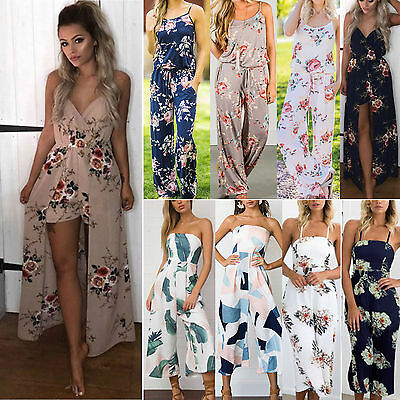 Women Sleeveless Holiday Party Playsuit Summer Romper Long Floral Jumpsuit Dress