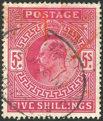 KEVII 5/- Part red cancel