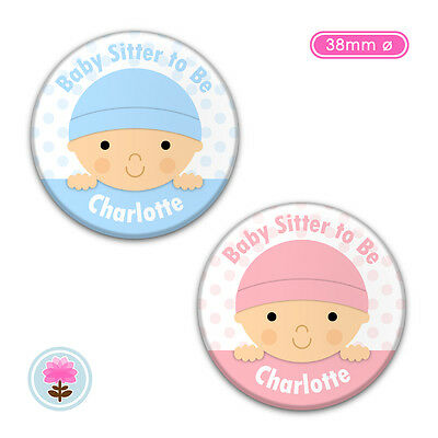 Personalised BABY Shower Boy or Girl Blue or Pink 38mm PIN BADGE Badges Guests