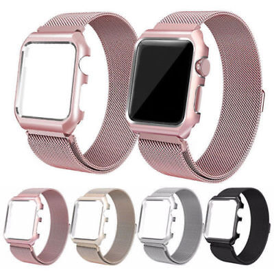 New Milanese Stainless Steel Watch Band Strap+Cover Case For iWatch Series 2/1