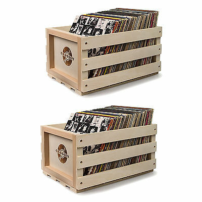 Crosley Rustic Vintage Wooden Record Collection Portable Storage Crate (2 Pack)