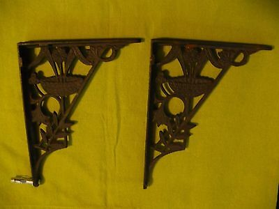 Antique Art Nouveau Victorian Cast Iron Corbel Shelf Brackets