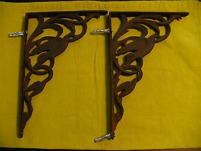 Antique Art Nouveau Victorian Cast Iron Corbel Shelf Brackets w Bird Design