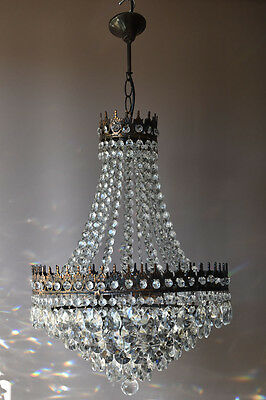Sale Bronze Antique French Vintage Lead Crystal Chandelier Lamp Home Lighting