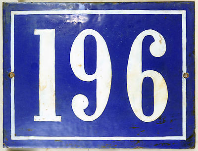 Large old French house number 196 door gate plate plaque enamel steel metal sign