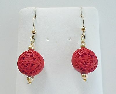 Hand Carved Round Red Resin Cinnabar Earrings in 14k YGF